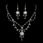 Antique Silver Clear Swarovski Crystal and Rhinestone Chandelier Tiered Necklace & Earrings Bridal Jewelry Set  ***Discontinued***