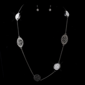 Antique Silver Clear Bevel Necklace & Earrings Bridal Jewelry Set 8842