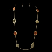 Gold Coral Necklace & Earrings Bridal Jewelry Set 8842