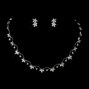 Antique Silver Clear CZ Crystal Necklace 2502 & Earrings 2630 Jewelry Set