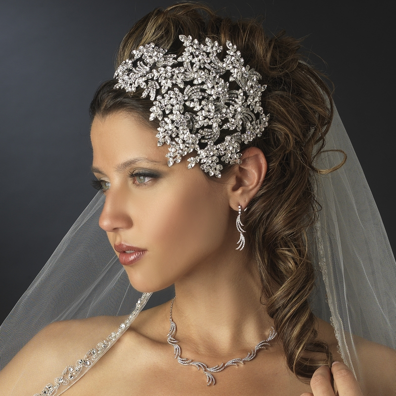 Vintage Couture Leaves Side Accented Crystal Bridal Faceframer Headband  19255 99cb0b3ed6d