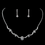 Silver Clear Rhinestone Necklace & Earrings Jewelry Set 47300