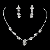 Silver Clear Rhinestone Necklace & Earrings Jewelry Set 47336