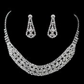 Silver Clear Rhinestone Necklace & Earrings Jewelry Set 47490