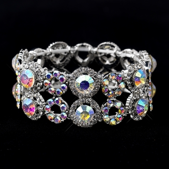 Silver AB & Clear Crystal Stretch Bracelet 8658