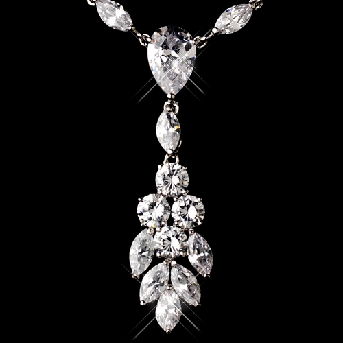Gorgeous Antique Silver Clear Cubic Zirconia Necklace 2745