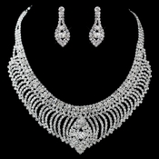 Silver Clear Rhinestone Necklace & Earrings Jewelry Set 47496