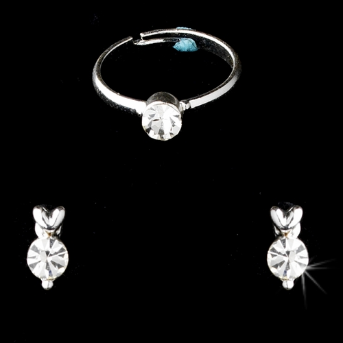 Children's Necklace Earring Ring Set 6747 C Silver Clear