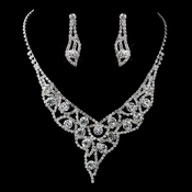 Silver Clear Rhinestone Necklace & Earrings Jewelry Set 47501