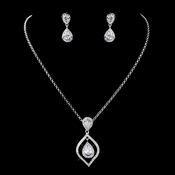 Silver Clear Teardrop CZ Crystal & Rhinestone Drop Necklace & Earrings Jewelry Set 72093