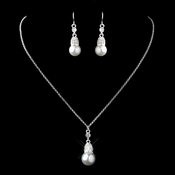 Silver White Pearl & Rhinestone Drop Necklace & Earrings Jewelry Set 72142