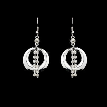 * Stylish Silver Hoop Earrings w/ Clear Rhinestones 2325