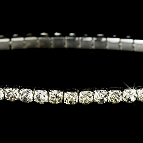 Charming Silver Clear Rhinestone Stretch Bracelet 8011