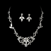 Silver Clear Rhinestone Necklace & Earrings Jewelry Set 8311