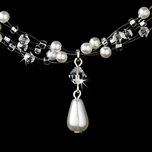 Wonderful Silver White Pearl & AB Crystal Illusion Necklace 8146