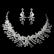 Silver Clear Crystal Necklace & Earrings Jewelry Set 9688