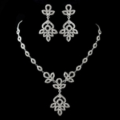 Antique Silver Clear Rhinestone Necklace & Earrings Jewelry Set 9694
