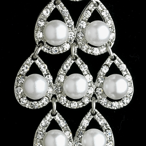 * Silver White Earring Set 21458