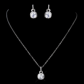 Antique Silver Clear CZ Crystal Necklace 8114 & Earrings 8580 Jewelry Set