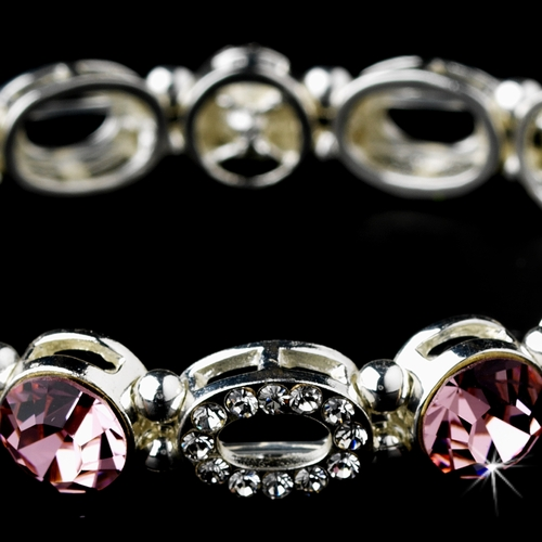 Beautiful Silver Stretch Bracelet with Pink Crystals 10416