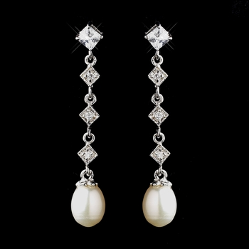 Antique Silver Ivory Freshwater Pearl Bridal Earrings 8920***Discontinued***