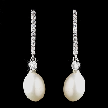 Antique Silver Ivory Freshwater Pearl Earrings 8908