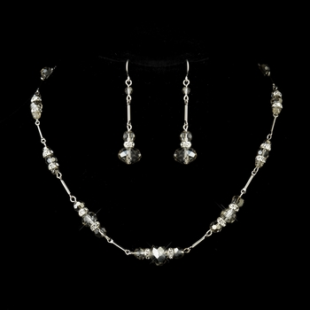 Silver Smoked Crystal & Rhinestone Necklace & Earrings Set 8741