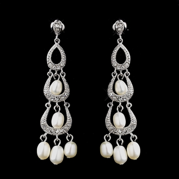Antique Silver Freshwater Pearl & Clear CZ Crystal Earrings 8926