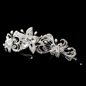 * Silver Freshwater Pearl, Swarovski Crystal Bead, and Rhinestone Floral Headband Headpiece 9702 (0 left in stock)