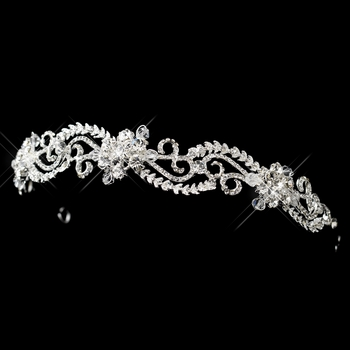 Silver Clear Swarovski Crystal & Rhinestone Swirl Headband Headpiece 9706 ( 0 left in stock)