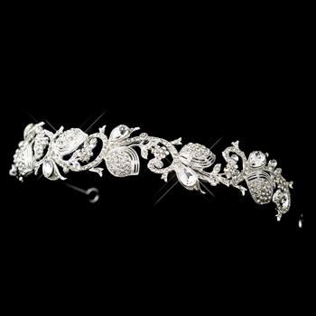 Silver Clear Rhinestone Floral Flower and Leaf Swirl Headband Headpiece 9709
