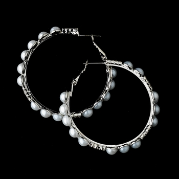 * Silver White Clear earring Set 8550
