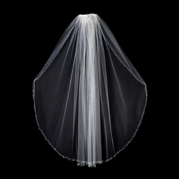 Veil with Crystal and Sequins Beaded Edge V 131 1E