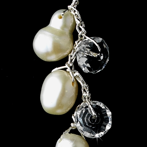 Silver Silk White Pearl Clear Crystal Earring Set 7829