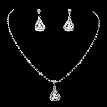 Silver Clear Rhinestone Necklace & Earrings Jewelry Set 71819
