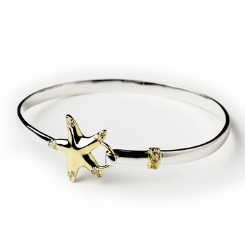 Silver & Gold Clear CZ Crystal Beach Starfish Bangle Bracelet 9257