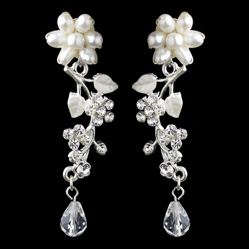 Silver Freshwater Pearl Swarovski Crystal Bead And Rhinestone Flower Leaf Necklace Earrings Jewelry Set 9303 Discontinued