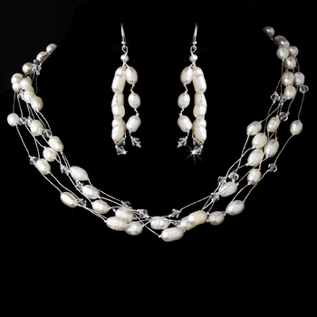 Lovely Multi Strand Freshwater Pearl & Swarovski Crystal Bead Necklace & Earring Set 8250
