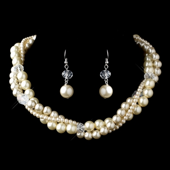 Silver Rum Pearl & Crystal Bead Necklace 9265 & Earrings 9265 Jewelry Set