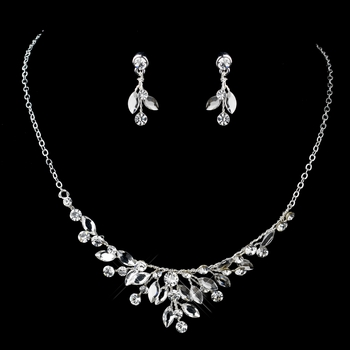 Silver Clear Rhinestone Necklace & Earrings Jewelry Set 9314
