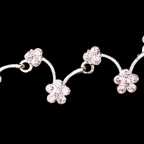 * Silver Pink Necklace Earring Set 386