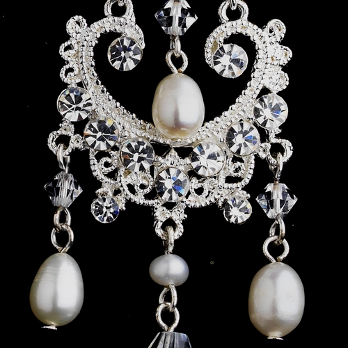 Fabulous Antique Silver Chandelier Earrings w/ Clear Crystals & Freshwater Pearls 8648**Discontinued**