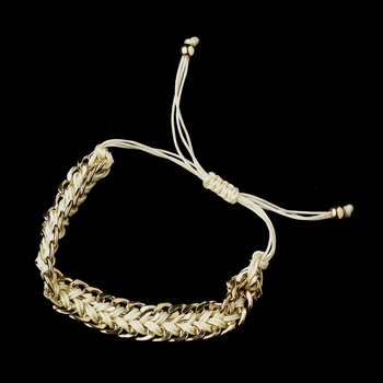 Gold Ivory Braided Mesh Link Fashion Bracelet 8860