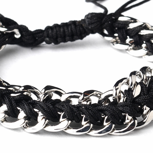 Silver Black Braided Mesh Link Fashion Bracelet 8860