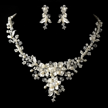Silver diamond white freshwater pearl crystal for Diamond pearl jewelry sets