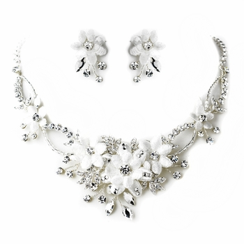 Silver Diamond White Fabric Flower & Rhinestone Accent Necklace & Earrings Jewelry Set 9697