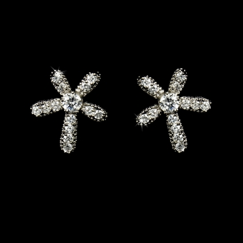 Stunning Antique Silver Clear Starfish-like Earrings E 5284
