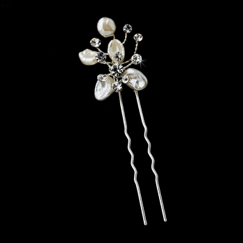 Keshi Flower Rhinestone Accent Pin-105