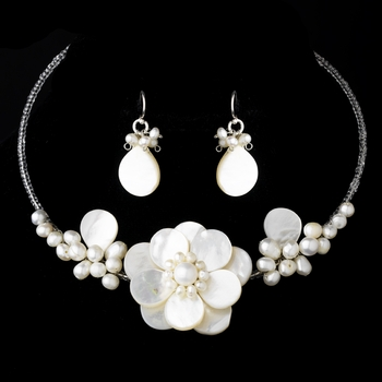 Freshwater Pearl & Shell Necklace & Earring Set  NE 8253