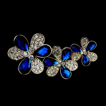 * Three Flower Gold Brooch 108 Encrusted with Sapphire Crystals